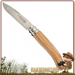 Couteau pliant L'ALPAGE de randonnée manche bois d'olivier fabrication française dédié aux randonneurs