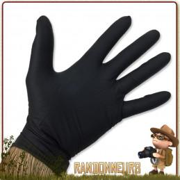 Paire de gants nitrile tactique noir Europlast à usage unique pour se protéger des infections lors des premiers soins