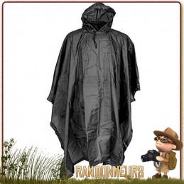 Poncho randonnee Tarp Ripstop noir Fostex bivouac trekking bushcraft