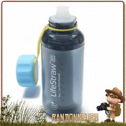 gourde filtration PLAY Lifestraw, légère pour filtrer l'eau en randonnée et contre mauvais gouts charbon actif