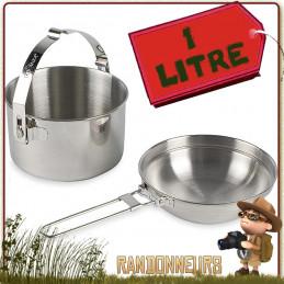 popote acier Inoxydable 1 litre Tatonka ensemble ingénieux avec casserole avec anse robuste, et un couvercle bivouac bushcraft