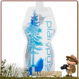 Gourde Platypus Plastique Souple Soft Bottle 1 Litre WILD BLUE de randonnée ultra légère pour eau potable