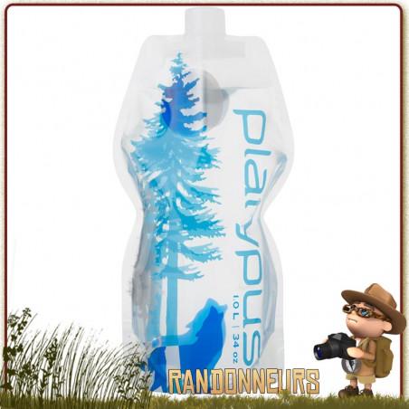Gourde Platypus Plastique Souple Soft Bottle 1 Litre WILD BLUE