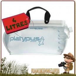 Réserve eau souple randonnée légère, Platy Water Tank 4 Litres Platypus. L'un des plus grand réservoir d'eau souple