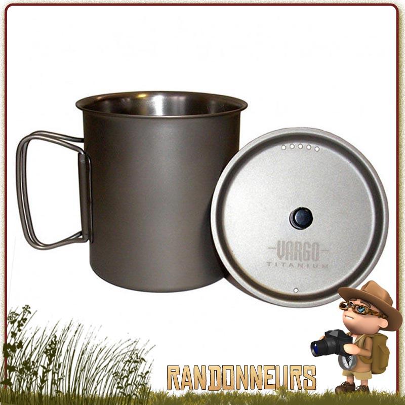 Popote Mug ultra léger Ti-Lite Titane VARGO, pour randonner léger. Popote Mug Vargo de randonnée bivouac léger