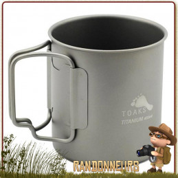 tasse titane toaks 450 ml 45 cl pour randonnée ultra légère. Le titane toaks est robuste et adapté à un bivouac