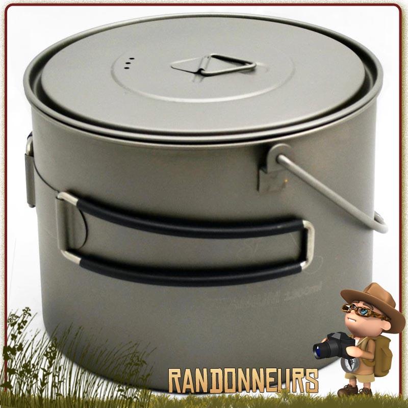 Pot Titane Toaks 1300ml avec anse est un pot en titane ultra léger pour la randonnée ultra light.