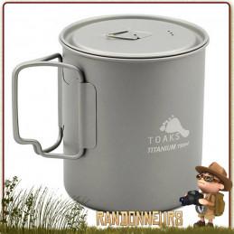 Pot en Titane avec poignées 750 ml TOAKS pour la randonnée ultra light et bivouac léger