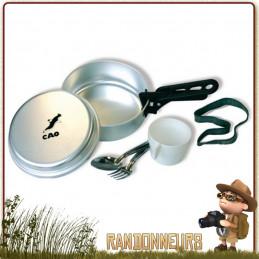 Set Popote Scout Aluminium une Personne CAO 7 pièces (faitout, poêle, assiette, cuiller, fourchette, pince, gobelet