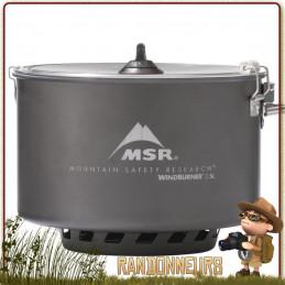 Casserole Céramique Windburner Sauce Pot 2.5 litres MSR aluminium hard anodisé Répartiteur de chaleur et coupe vent intégré