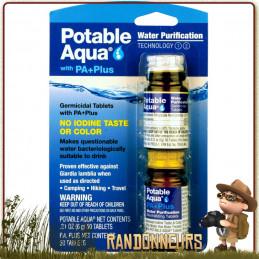 Potable Aqua est un set de comprimés pour la purification de l'eau en randonnée et la rendre potable