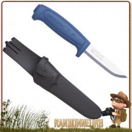 Couteau Bushcraft Nature et Pêche MORA BASIC 546 Bleu lame acier inox 8.6 cm manche gomme anti dérapant