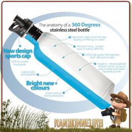 gourde inox 75 cl 360 degrés, une gourde pour randonner léger en inox 18/10 sans bpa ni vernis