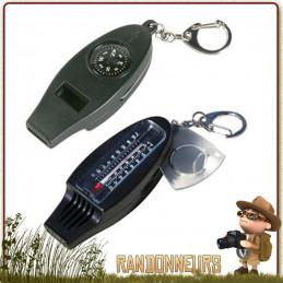 Sifflet de secours avec boussole, thermomètre et loupe. Le sifflet de secours peut faire office de porte clés