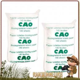 Lot de 2 Rouleaux de 140 feuilles papier toilette biodégradable, résistant et absorbant adapté pour l'hygiène en randonnée