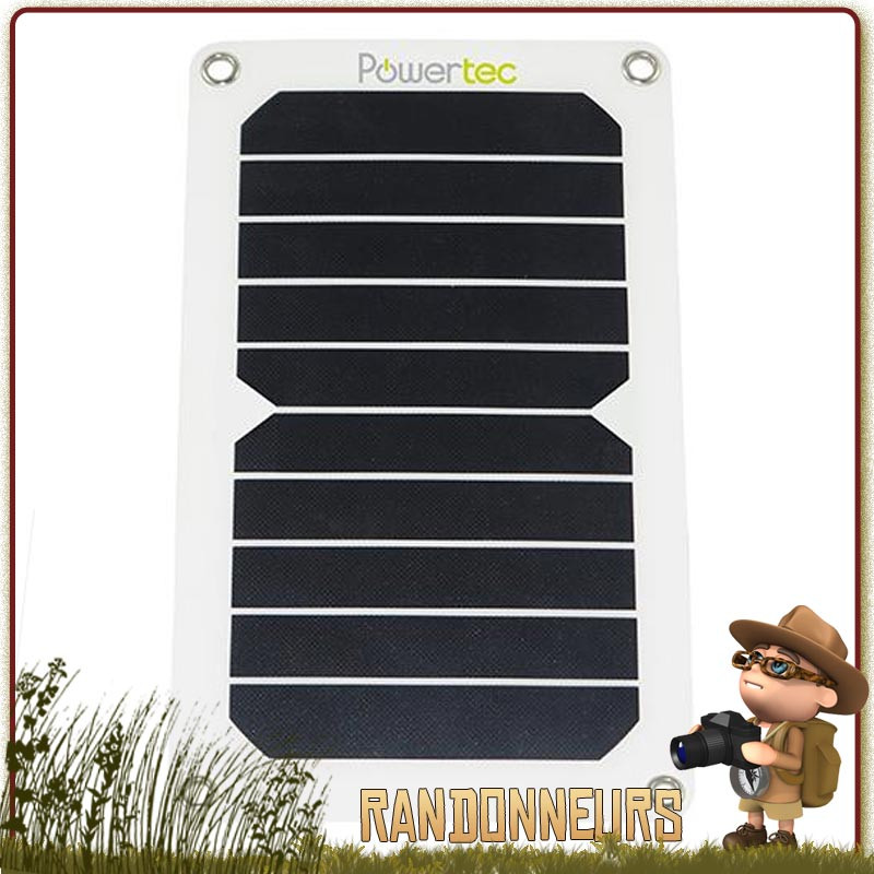 Chargeur solaire pliable ultra léger de 120g PTFLAP SunPower 6W sortie USB 5V 1000 mAh. Capteur solaire semi rigide ultra mince