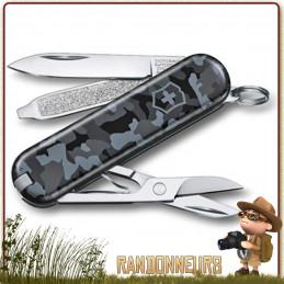 Couteau Suisse Classic Navy Camo Victorinox 7 fonctions outils pour randonner