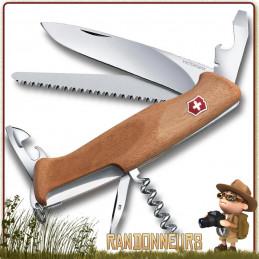 Couteau Suisse Victorinox RANGERWOOD 55 avec 11 fonctions et 6 pièces Manche en bois de noyer