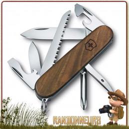 Couteau Victorinox HIKER NOYER 12 fonctions et 7 pièces manche bois de noyer vernis couteau multifonctions Victorinox