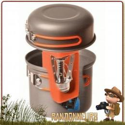 Set de cuisine et randonnée légère Furno 360 Degrees comportant une popote de 85 cl avec couvercle de 35 cl, un réchaud gaz